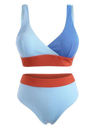 ZAFUL Plus Size Ribbed Colorblock Surplice Bikini Swimwear - Light Blue Xxxxl