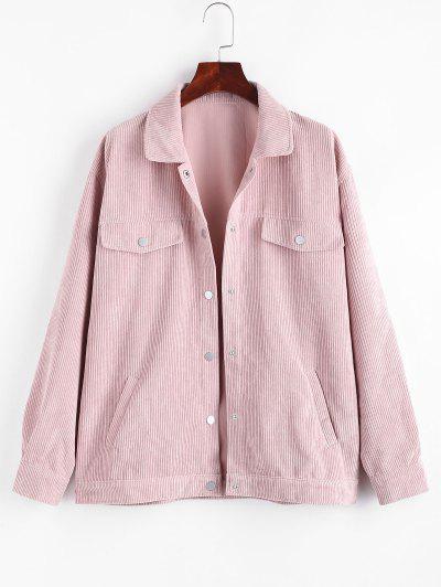 Pockets  Flap Detail Corduroy Shacket - Light Pink S