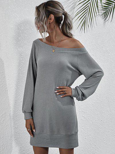 Boat Neck Honeycomb Raglan Sleeve Knit Sweatshirt Dress - Gray L