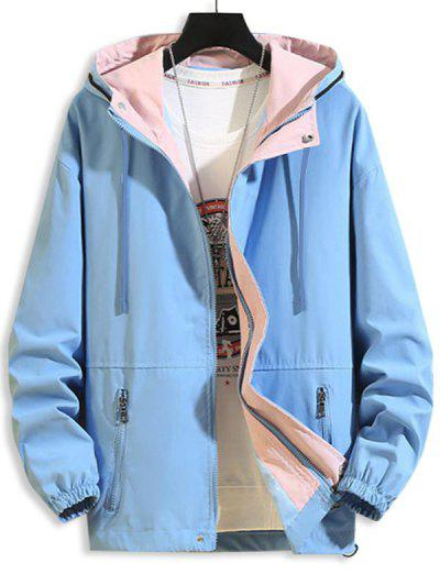 Hooded Zipper Pockets Drawstring Jacket - Blue M