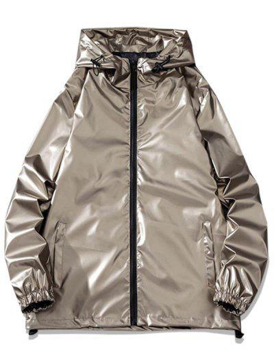 Letter Print Hooded Metallic Jacket - Brown L