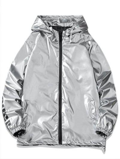 Letter Print Hooded Metallic Jacket - Light Gray L