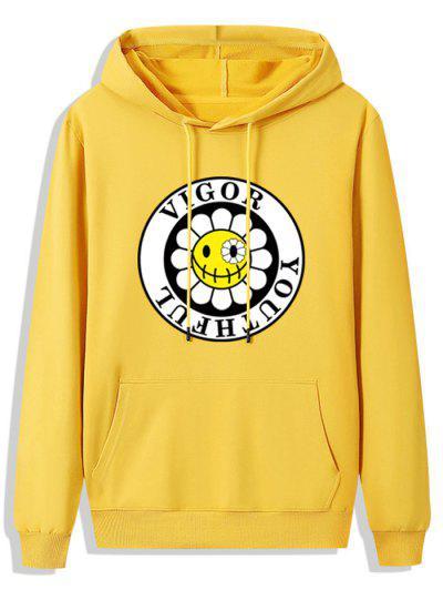 Fleece Lined Sunflower Vigor Youthful Graphic Hoodie - Bright Yellow 2xl