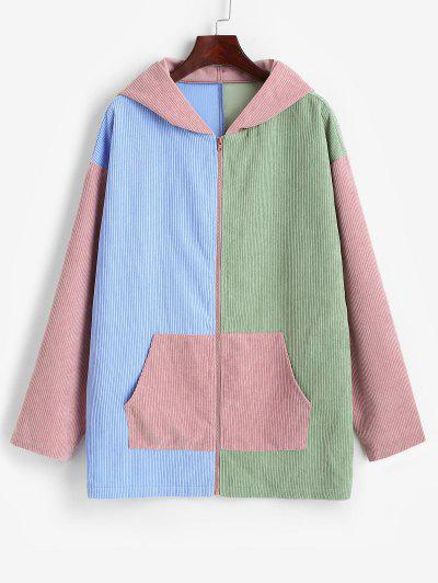 ZAFUL Hooded Corduroy Color Blocking Zip Pocket Coat - Multi-a Xl