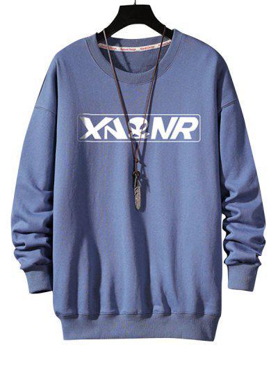 Letter Graphic Print Rib-knit Trim Sweatshirt - Blue L