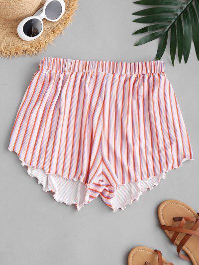 ZAFUL Striped Ribbed Lettuce Cover-up Beach Shorts - Multi L
