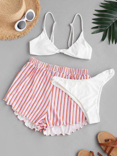 ZAFUL Verknotete Gerippte Streifen Dreiteilige Bikini Set - Weiß L