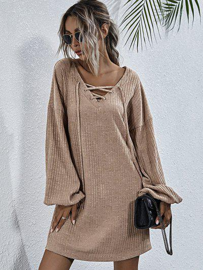 Wide Ribbed Lace-up Lantern Sleeve Knit Dress - Light Coffee L