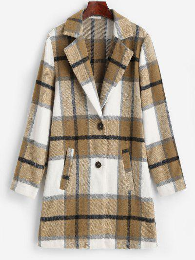 ZAFUL Plaid Pocket Lapel Longline Coat - Tan S