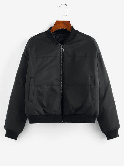 ZAFUL Quilted Drop Shoulder Zip Up Jacket - Black L
