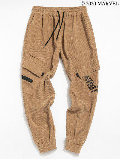 Marvel Spider-Man Corduroy Letter Embroidered Cargo Pants - Light Coffee L