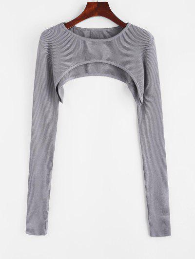 Ribbed Shrug Extreme Crop Sweater - Gray