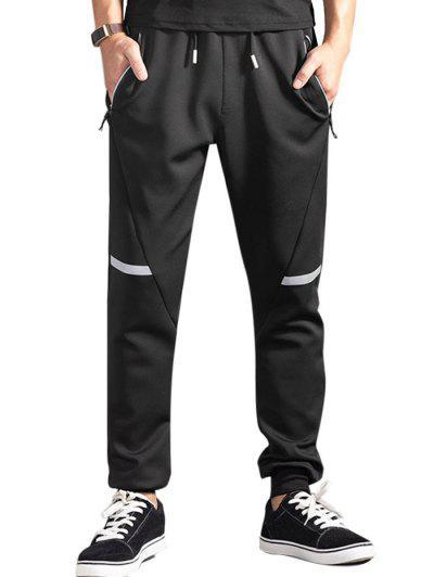 Drawstring Zippered Pockets Jogger Pants - Black L