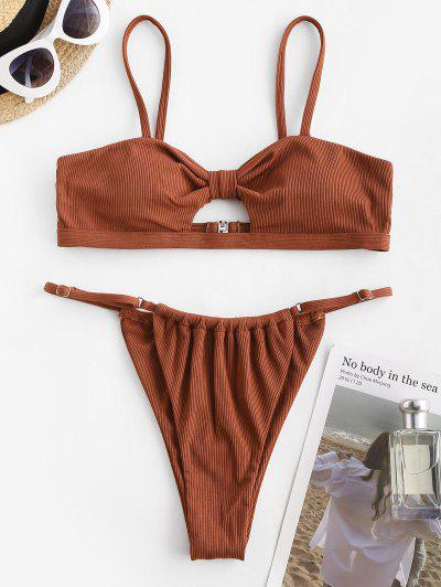 ZAFUL Ribbed Knotted Keyhole String Bikini Swimwear - Coffee S