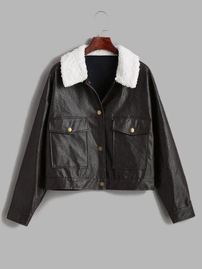 ZAFUL Borg Collar Drop Shoulder Pocket Faux Leather Jacket - Puce L