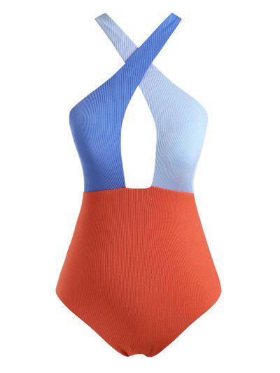 ZAFUL Colorblock Criss Cross Ribbed Plus Size One-piece Swimsuit - Dark Orange Xl