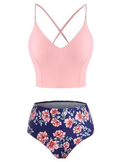 ZAFUL Plus Size Crisscross Lace-up Back Floral Tankini Swimwear - Light Pink Xxxxl