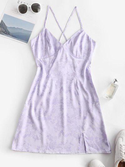 ZAFUL  Crisscross Plunge Jacquard Slit Dress - Lavender Blue L