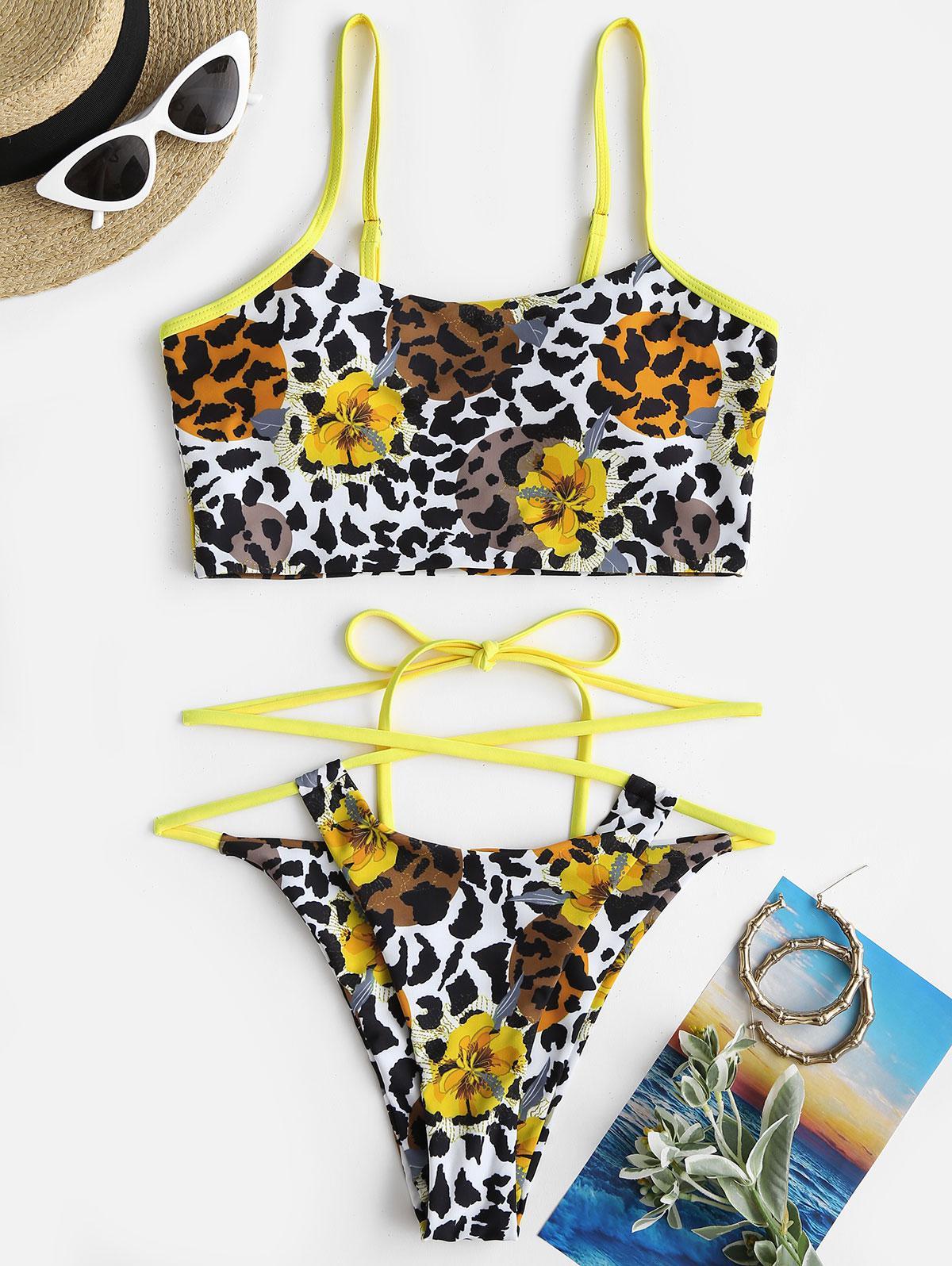 ZAFUL Floral Mix Leopard Crisscross Tie Tankini Swimwear