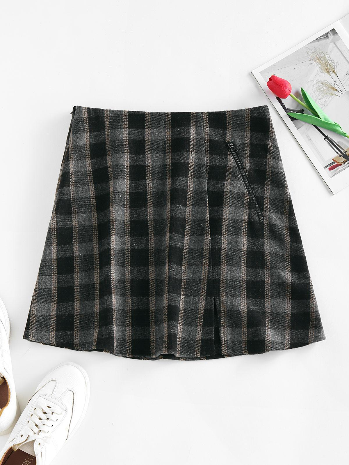 ZAFUL Front Slit Zippered Plaid Skirt