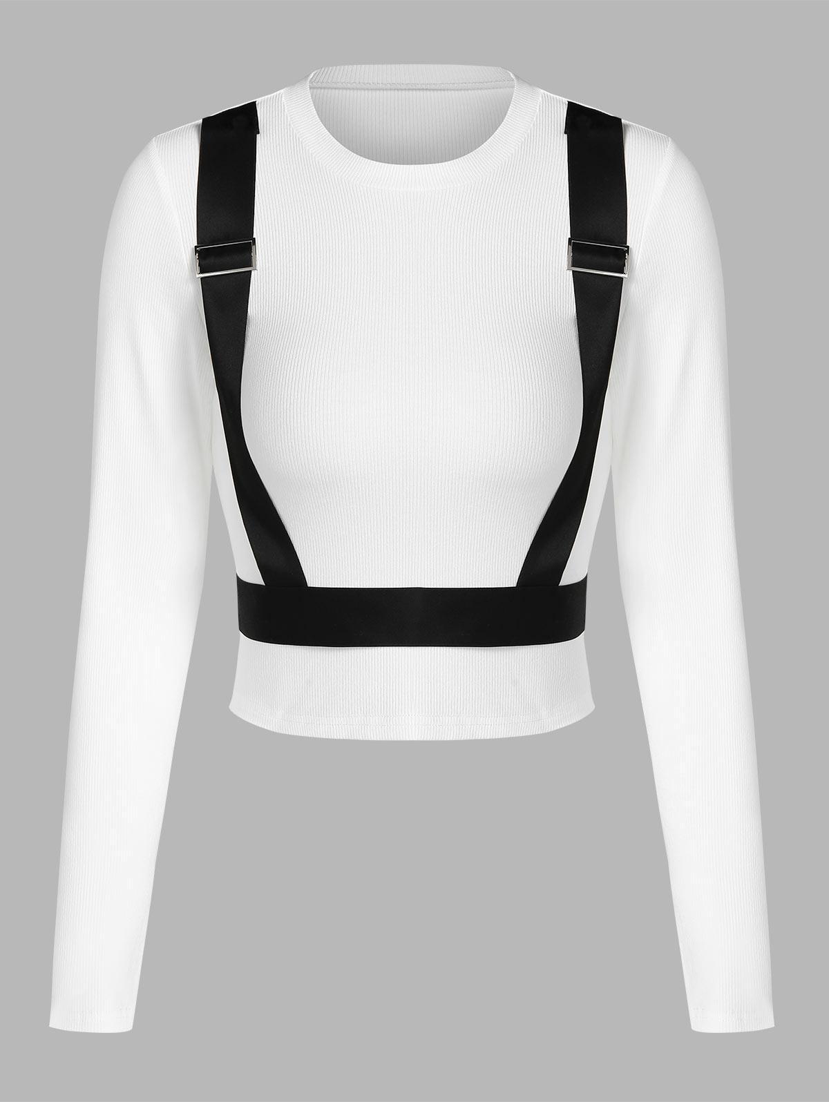 ZAFUL T-shirt Court Panneau Contrasté Bouclé S Blanc