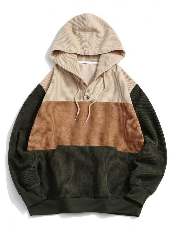 buy Colorblock Panel Button Corduroy Hoodie - MULTI 2XL