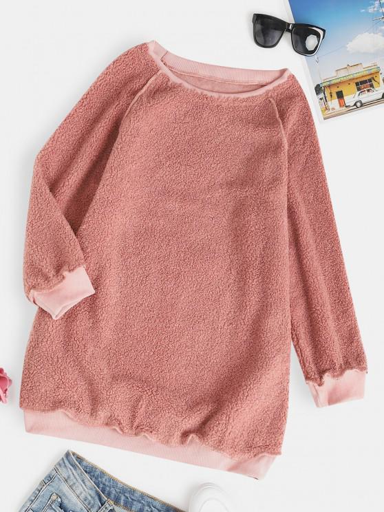 Raglan Sleeve Slouchy Tunic Teddy Sweatshirt - وردي فاتح XL