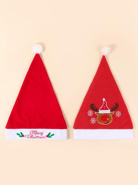 shop 2Pcs Embroidery Elk Letter Christmas Hat Set - RED