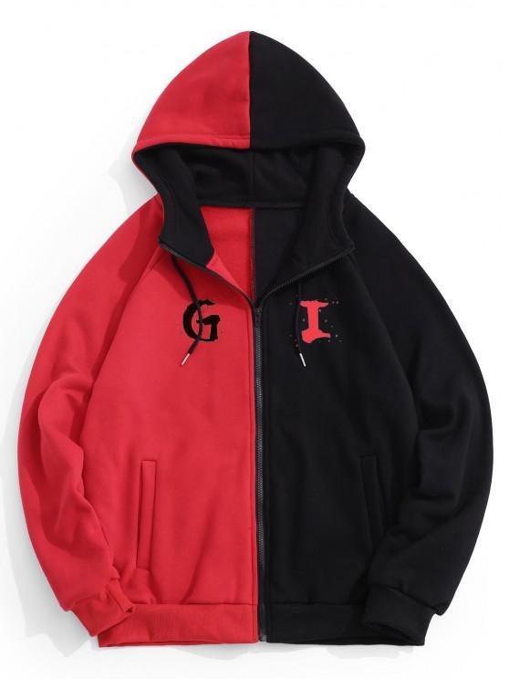 Hooded Letter Print Two Tone Fleece Jacket - أسود 2XL