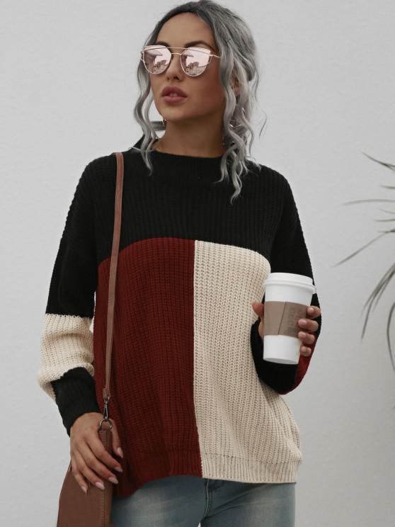 new Loose Mock Neck Colorblock Sweater - BLACK M