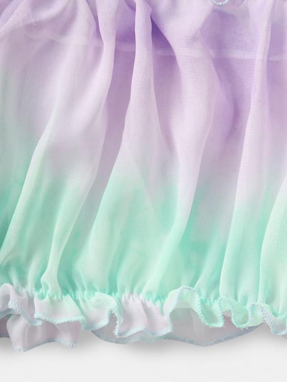 Off Shoulder Tie Dye Ruched Frilled Lingerie Set - Multi S   ZAFUL