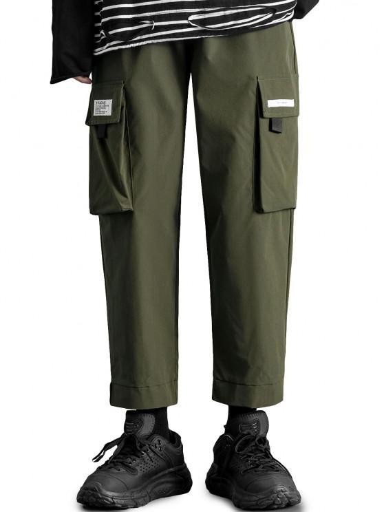 Pantalones de Carga con Aplicación de Gancho y Cordón de Letras - Ejercito Verde S