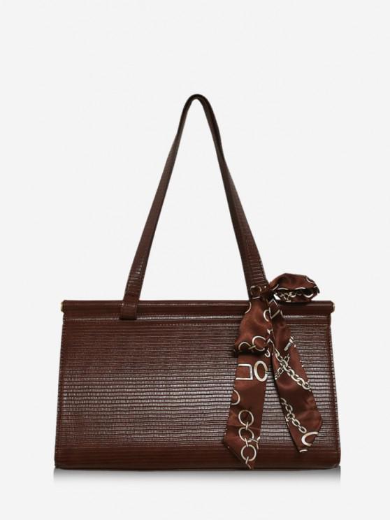 Solid Office Scarf Handbag - قهوة