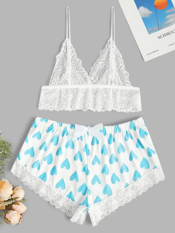 chic Hearts Print Lace Panel Lingerie Set - BLUE L