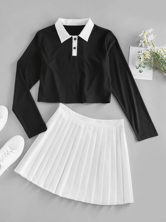 unique ZAFUL Button Placket Colorblock Pleated Skirt - MULTI XL