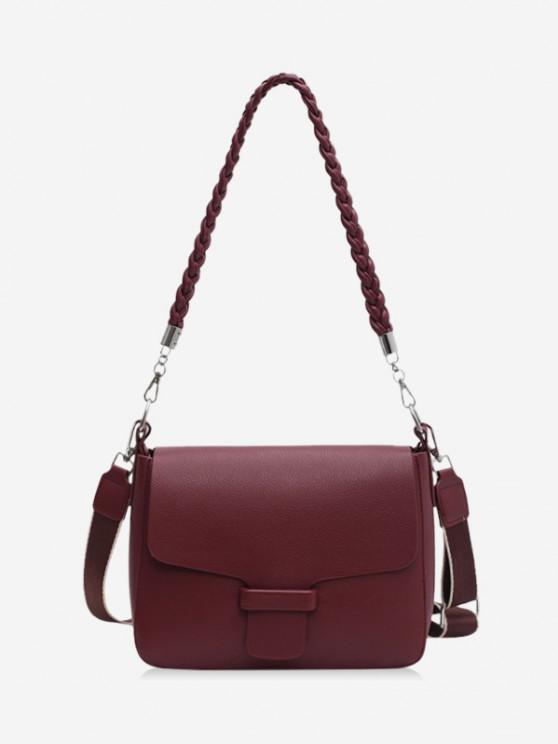 hot Braid Strap Cover Shoulder Bag - RED WINE