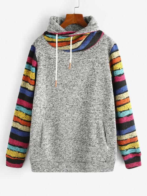 lady ZAFUL Cowl Neck Stripes Panel Heathered Sweatshirt - LIGHT GRAY M