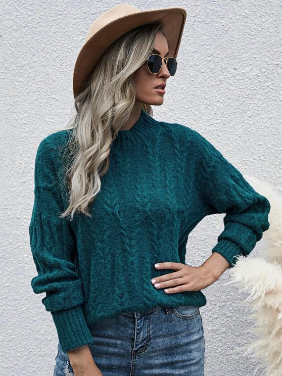 shops Loose Mock Neck Cable Knit Sweater - DEEP GREEN ONE SIZE