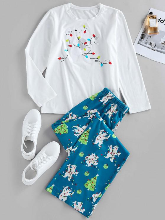 ZAFUL Christmas Tree Bear Light Print Lounge Pants Set - أبيض L