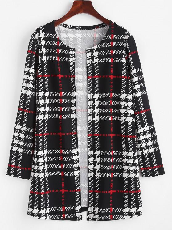 ZAFUL Long Plaid Open Front Coat - أسود XL