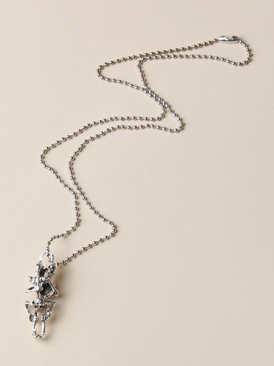 Punk Skeleton Pendant Necklace - فضة