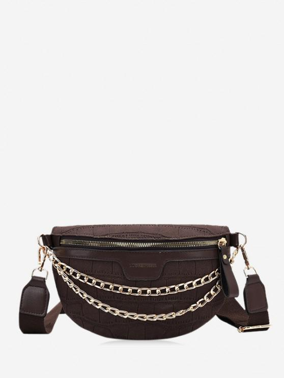 latest Chain Wide Strap Chest Bag - COFFEE