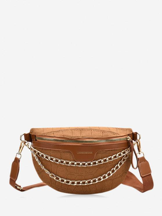 trendy Chain Wide Strap Chest Bag - BROWN
