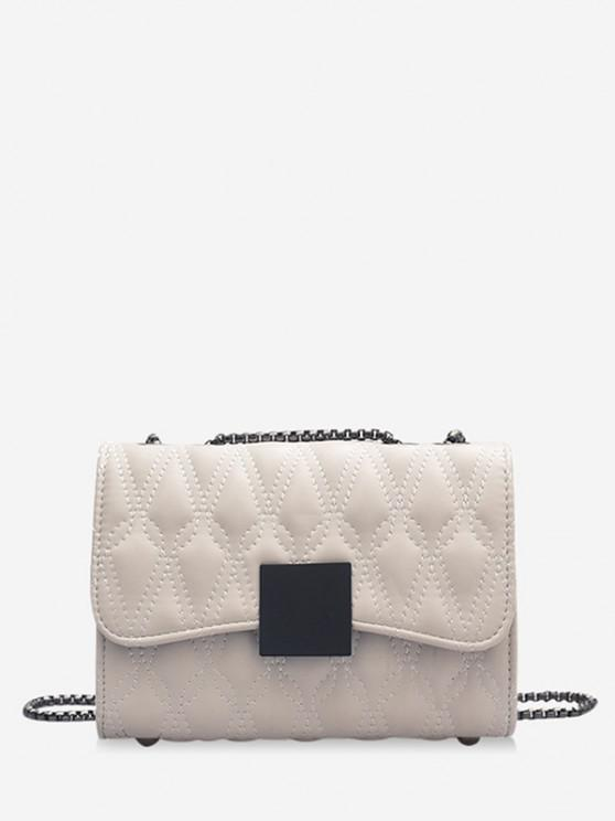 fancy Water Drop Quilted Chain Crossbody Bag - WHITE