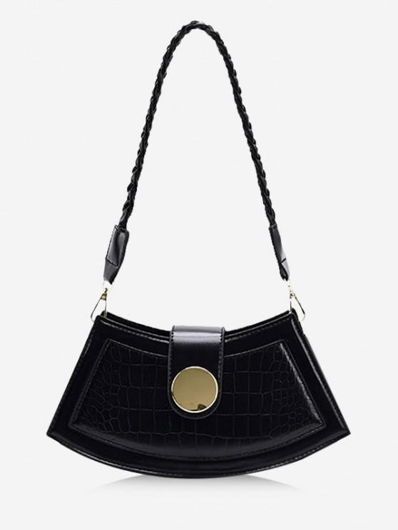 unique Braid Strap Textured Crossbody Bag - BLACK