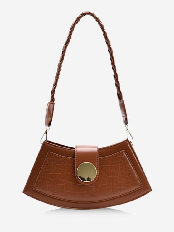 sale Braid Strap Textured Crossbody Bag - BROWN