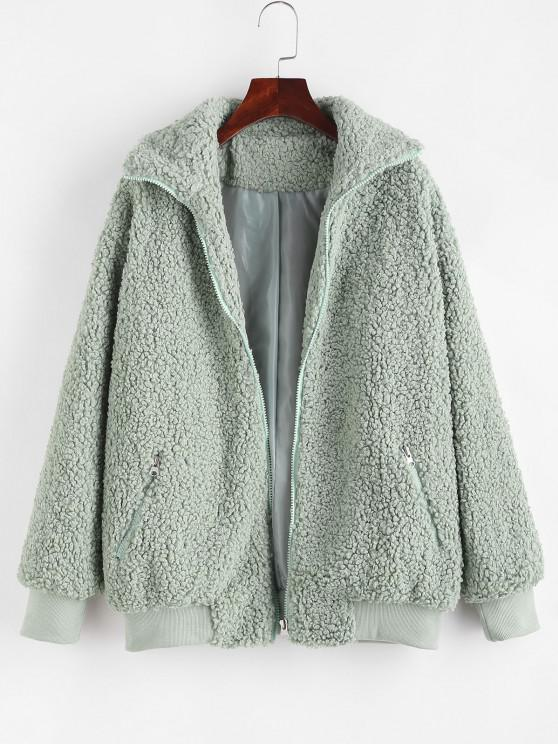 outfit Zippered Pocket Borg Teddy Jacket - GREEN L