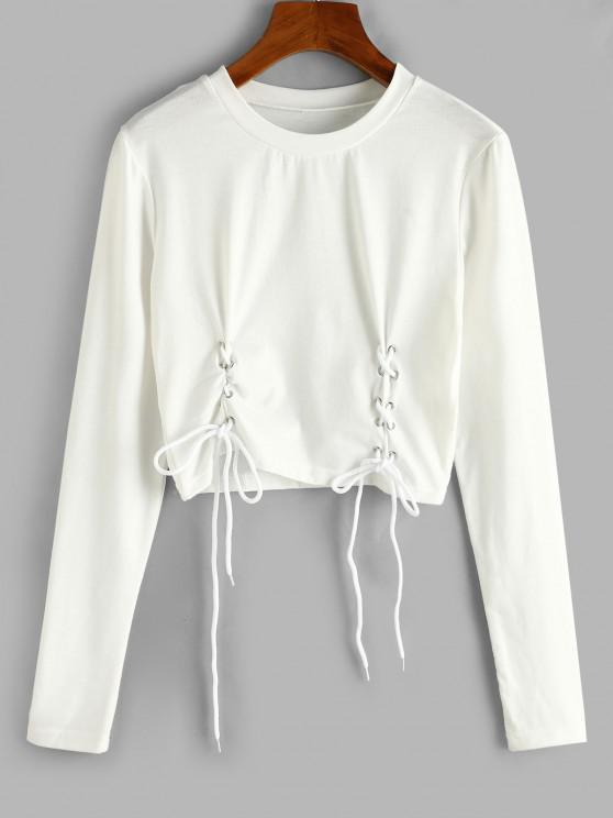 hot ZAFUL Lace-up Long Sleeve Crop Tee - WHITE M