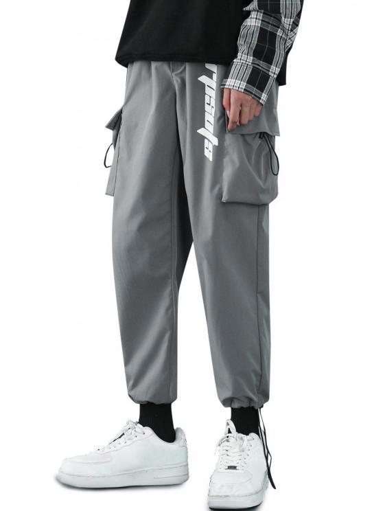 Pantalones Diseño Impreso Letras Tobillas Cordón Ajustable - Gris L