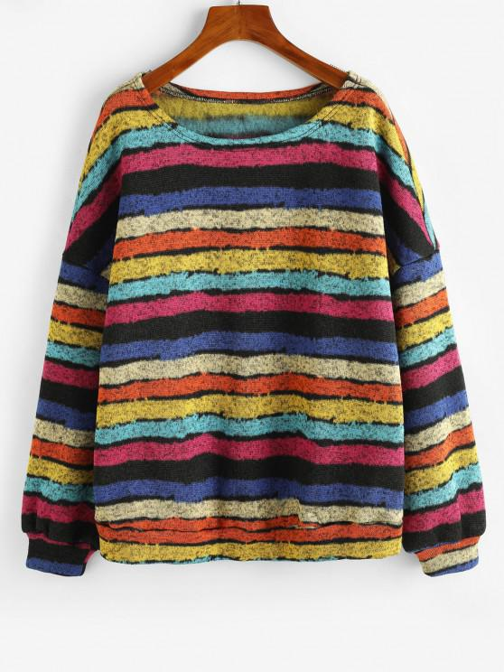 ZAFUL Loose Colorful Stripes Fleece Lined Sweatshirt - الأصفر S
